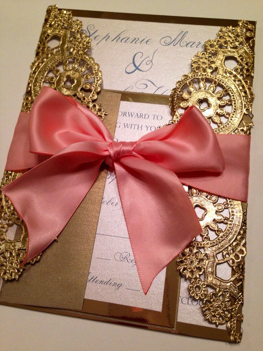DEPOSIT - Metallic Doilies Wedding Invitation Suite with Ribbon Bow ...