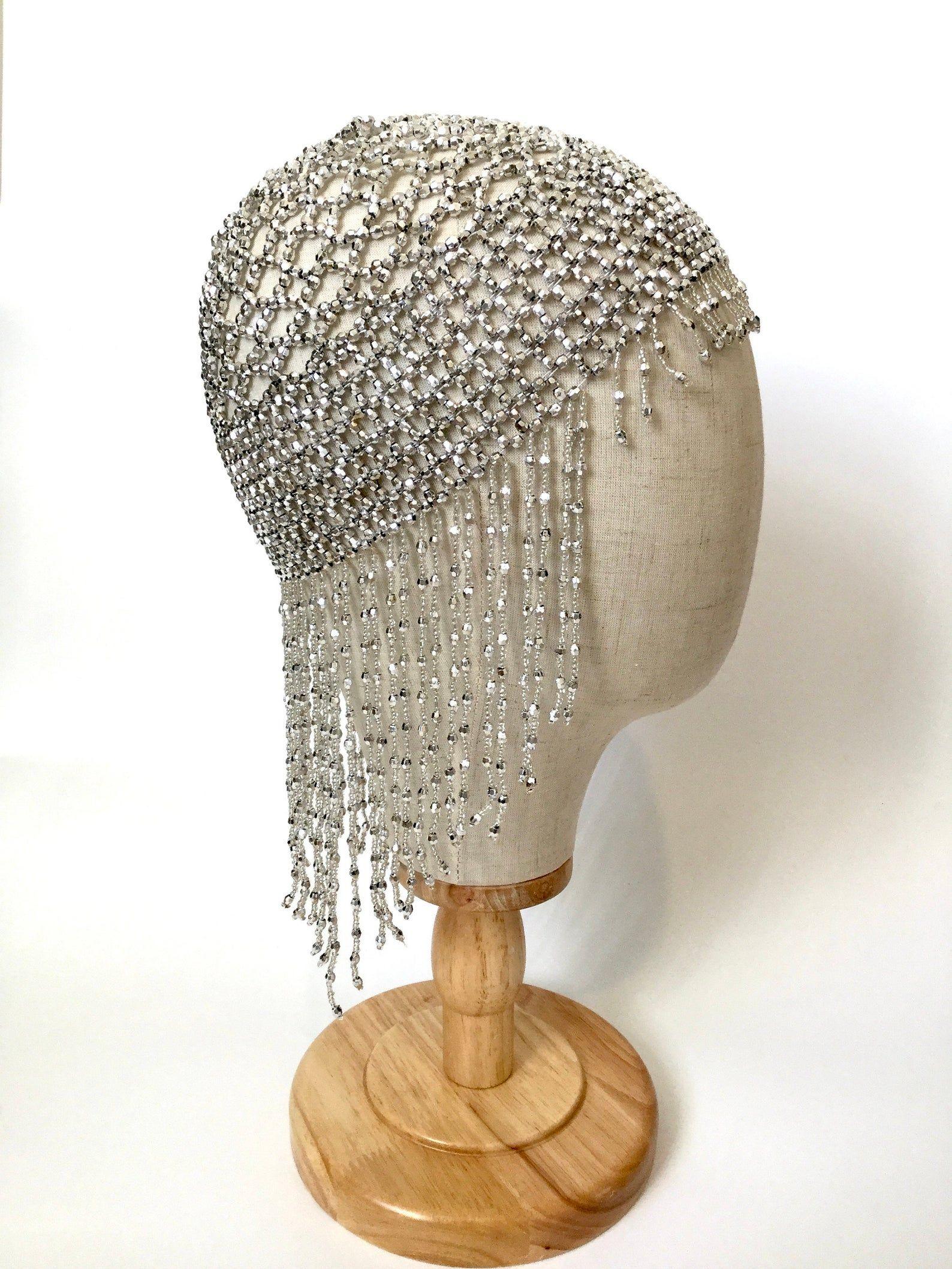 Silver beaded skull cap, 1920's flapper headpiece.