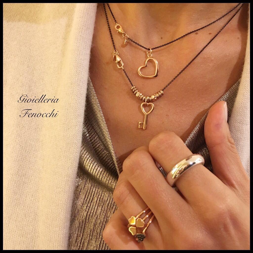 db84e559c5 Cuori e amore ❤ Dodo Catenina nera in argento con chiusura in oro rosa €