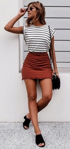 9d51223f9df summer outfits Striped Top + Red Denim Skirt | My style | Fashion ...