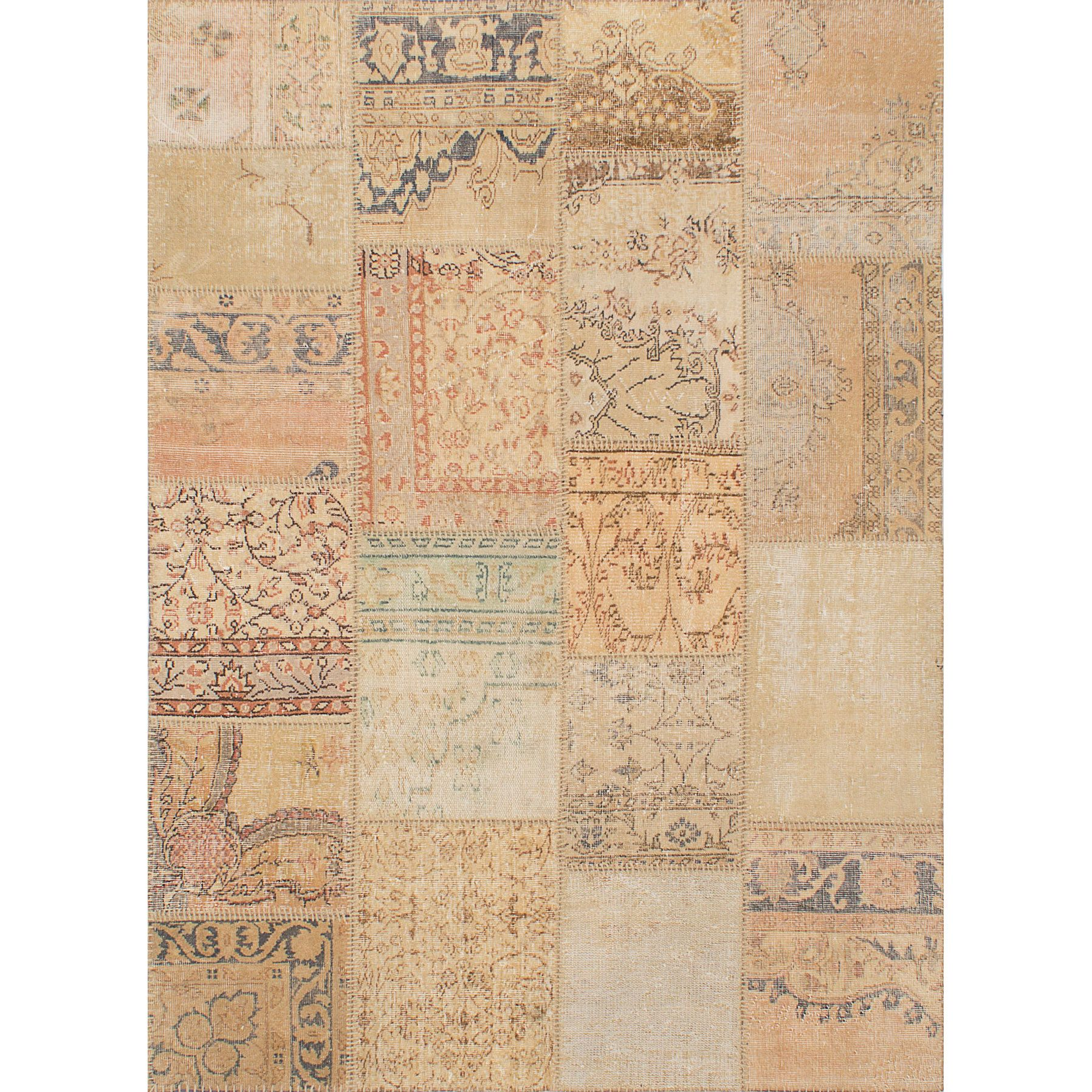 Ecarpetgallery Hand-knotted Sunwash Patch Wool Rug