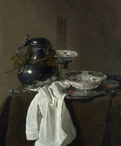 Jan Jansz. Treck - Still Life with a Pewter Flagon and Two Ming Bols