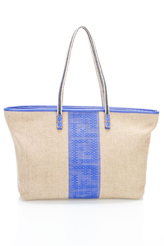 f2a222a418b9 Fendi hemp tote in ecru and white. Very cute little beach bag ...