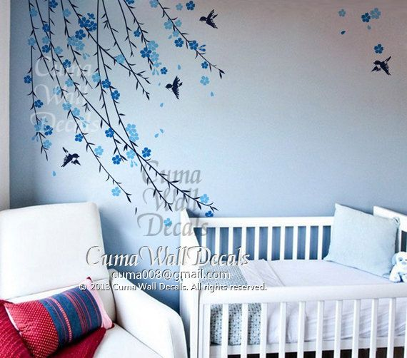 baby boy tree wall decal Nursery wall decal and birds blue cherry blossom  birds wall decals