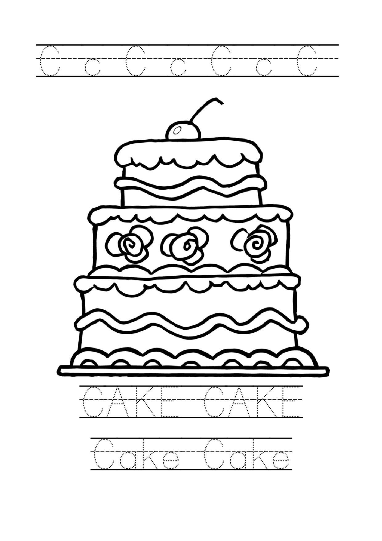 Tracing Word Cake Worksheet Cake Coloring Page For Preschool