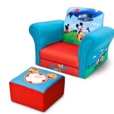 Children Mickey Mouse Clubhouse Upholstered Chair With Ottoman