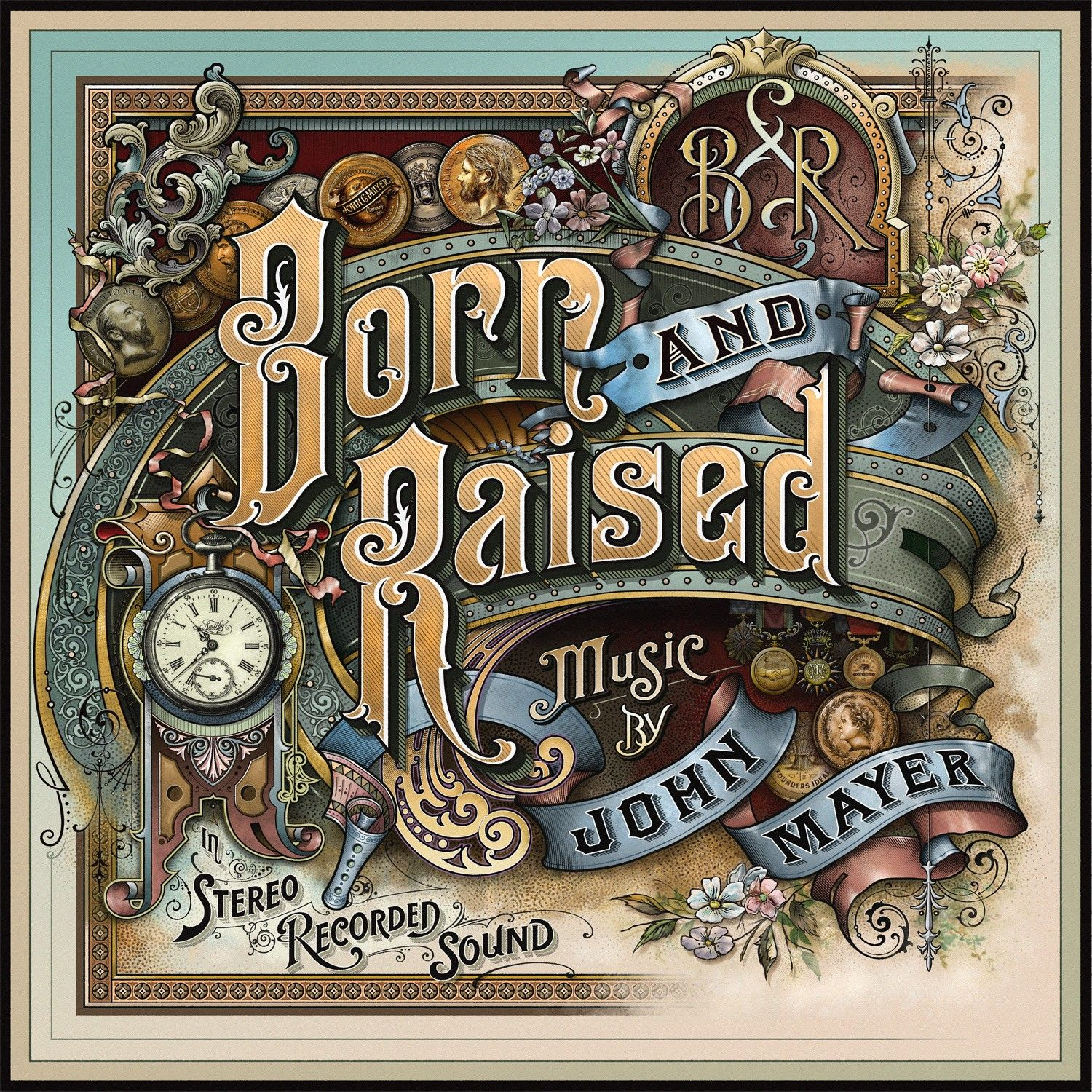 """Album cover lettering and design by David A. Smith for John Mayer's Album """"Born and Raised""""."""