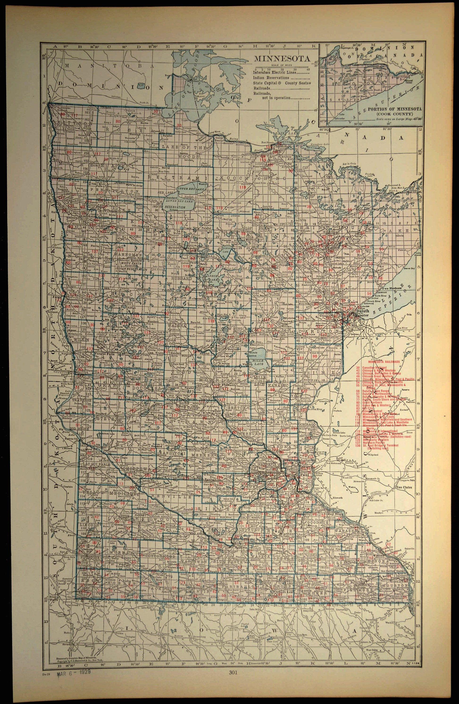 Minnesota Railroad Map LARGE Railroad Map Minnesota Wall Art | Map ...