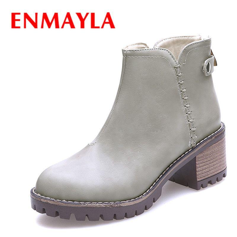 ENMAYLA Autumn Med Heels Zipper Ankle Boots Women Round Toe Platform Shoes Woman Boots Black Brown #Affiliate