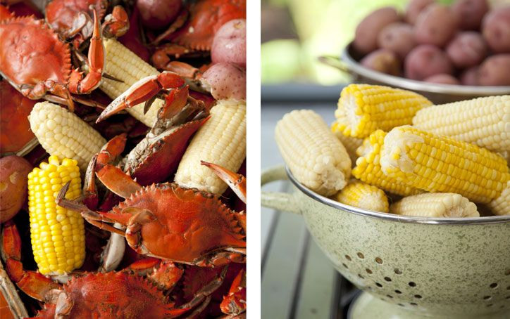 Yummy low country boil with blue crab instead of shrimp.