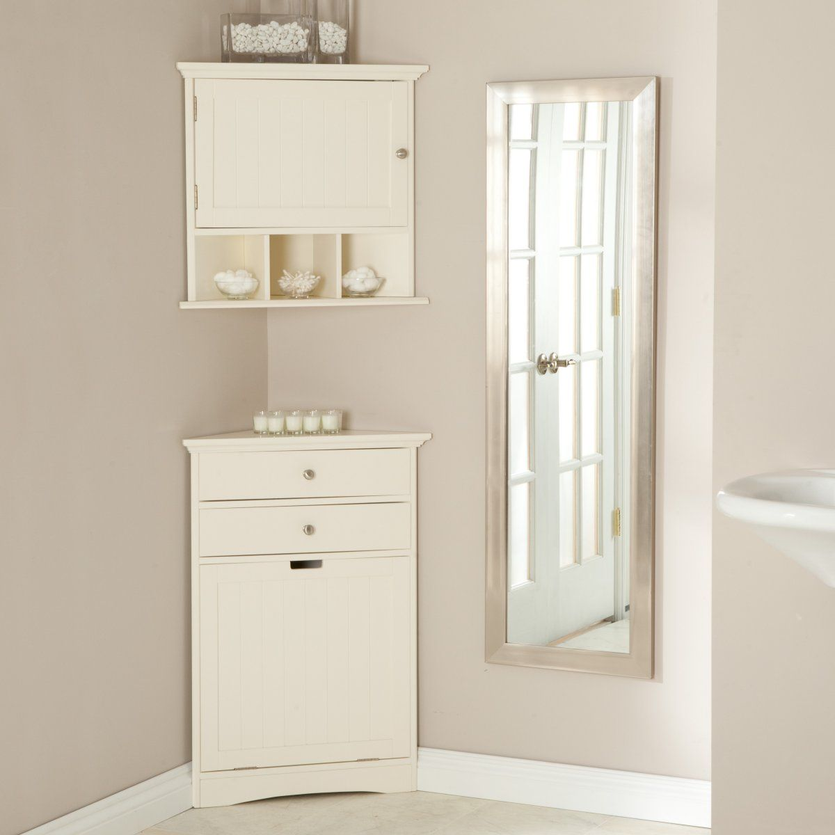 corner wall cabinets & hamper - to save space in small bathroom ...