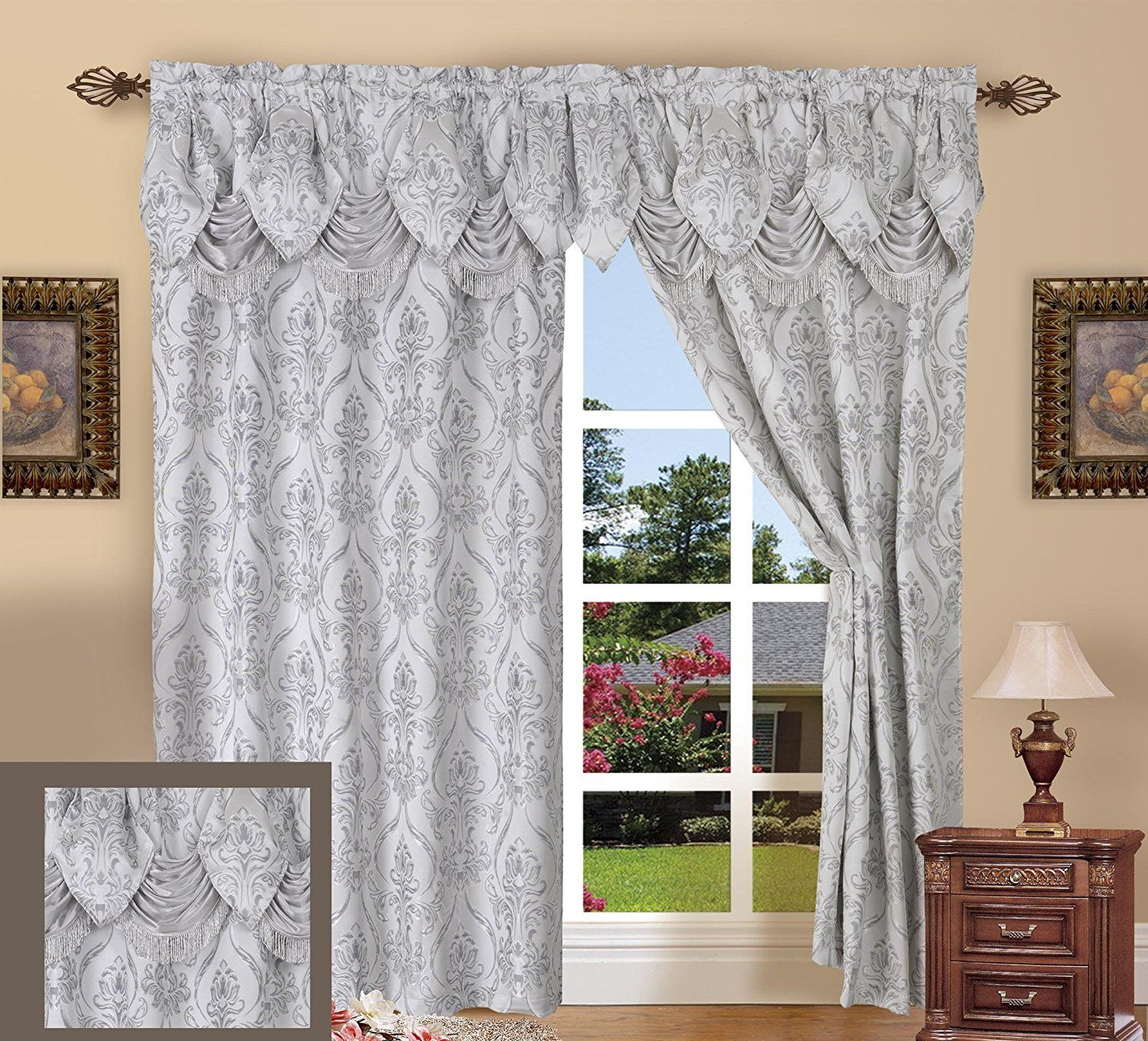 Elegance Linen Luxury Jacquard Curtain Panel Set With