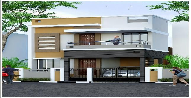 Independent house elevation designs in india house for Independent house designs in india