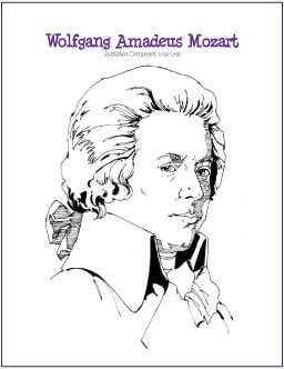 Wolfgang Amadeus Mozart Free Composer Coloring Page Http