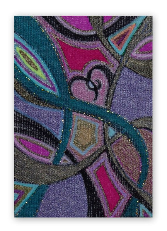 Aceo Original Abstract Heart and Ribbon on by HeatherMontgomeryArt, $9.00