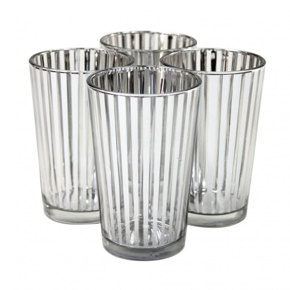 Striped Votive Candle Holders - 4 Silver #silver #striped #glass ...