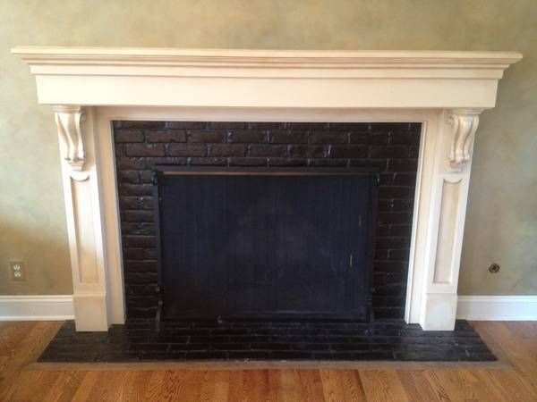 Good Idea To Update Fireplace Painting The Brick Black With A Glossy Finish Was A Big Change