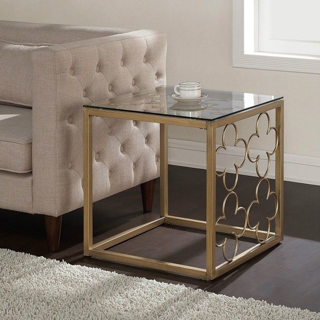 Front End Table Open Corner Square Accent Small Glass Top Gold