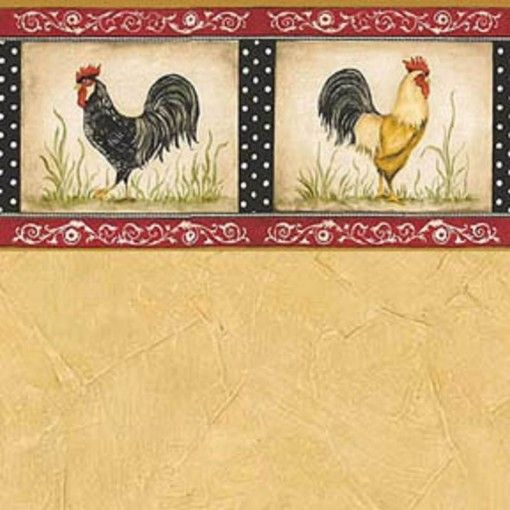 """Wallpaper """"Rooster Red"""" in Yellow Doll house, Dollhouse"""