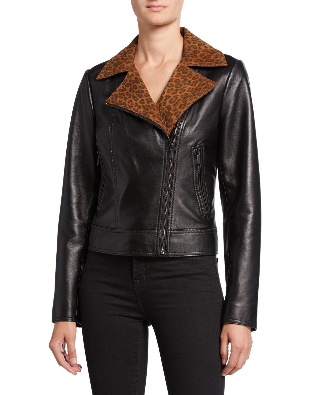 Neiman Marcus Lambskin Leather Moto Jacket With Leopard Print Collar Neimanmarcus Cloth Leather Jacket Womens Jumpsuits Casual Lambskin Leather [ 1500 x 1200 Pixel ]
