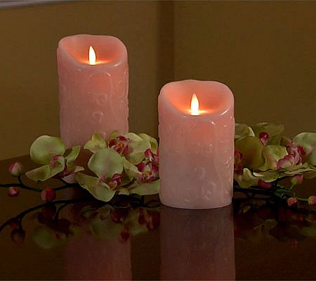 Luminara 7 Scroll Embossed Flameless Candle W Timer Candles