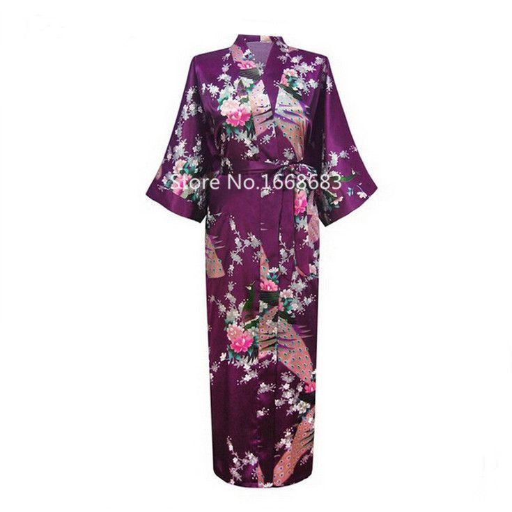 Plus Size XXXL Hot Pink Women's Silk Robes Chinese National Sexy Long Nightwear Kimono Yukata Night Gown Pijamas Floral BR041