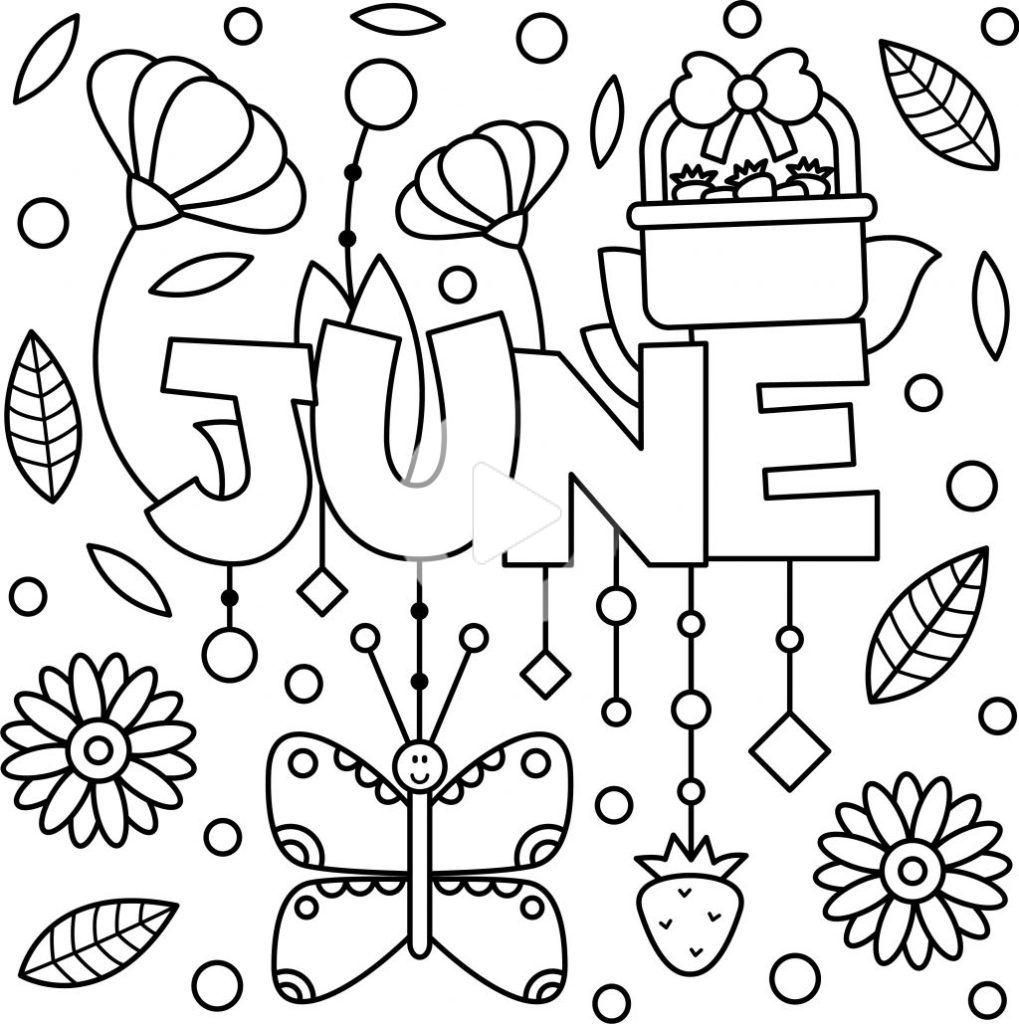 Cheery June Coloring Page Printable Coloring Pages Summer Coloring Pages Quote Coloring Pages