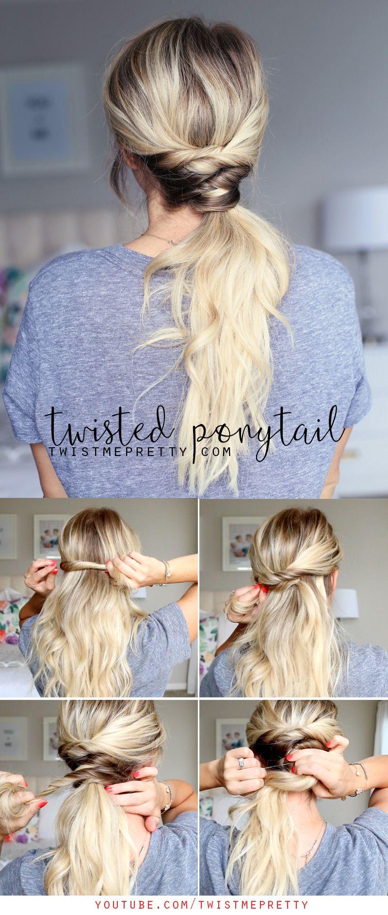 Twisted ponytail steps more hair pinterest twist ponytail