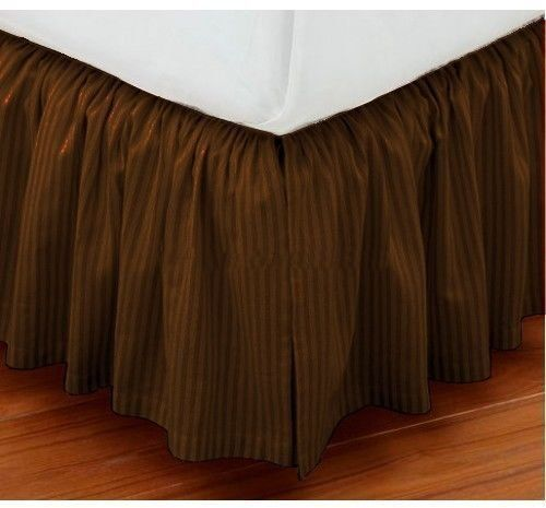 Kp Linen Hotel Quality 700 Thread Count Egyptian Cotton King Size One Piece Dust Ruffle Bed Skirt 20 Inch Drop Length Brown Striped