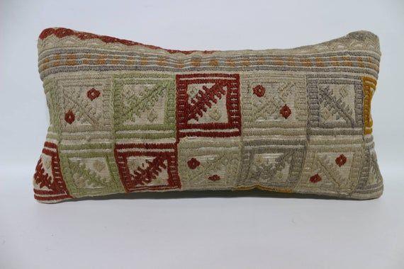 10x20 Vintage Kilim Pillow Turkish Embroidery Pillow multicolour pillow Lumbar Kilim Pillow Natural