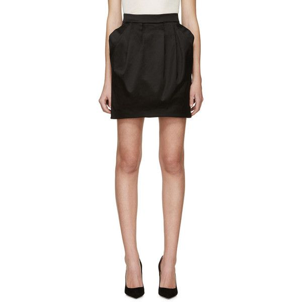 Pierre Balmain Black Pleated Skirt (795 CAD) ❤ liked on Polyvore featuring skirts