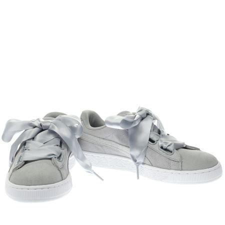 womens puma light grey basket heart met safari trainers