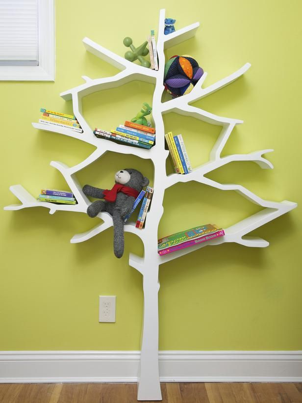 This whimsical tree-shaped bookcase, featured on HGTV's High/Low Project,  provides great storage and is also a beautiful art piece for the space.