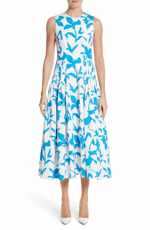112a1501417 Main Image - Carolina Herrera Pleated A-Line Midi Dress