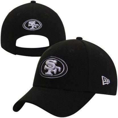 San Francisco 49ers New Era League Black   White Adjustable Hat ... 9fac1ee56c5