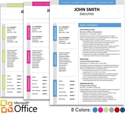 Executive Resume Template For Microsoft Word Office  Our Creative