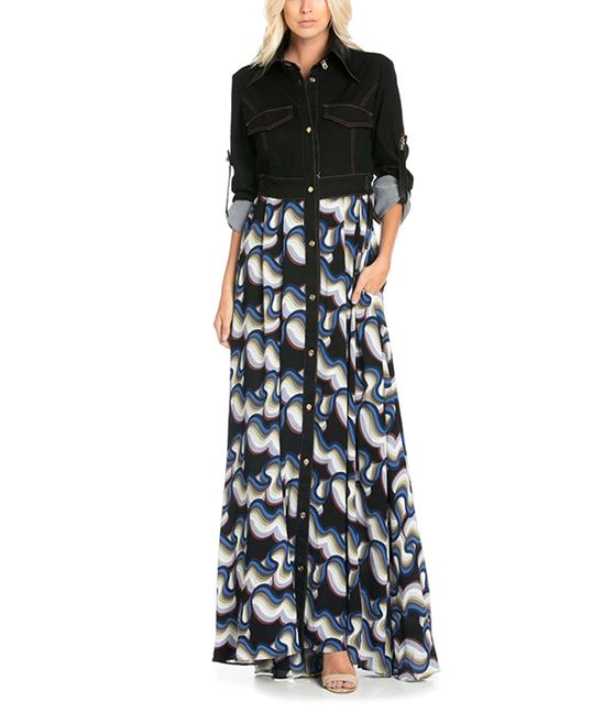 Black & White Abstract Button-Front Maxi Dress