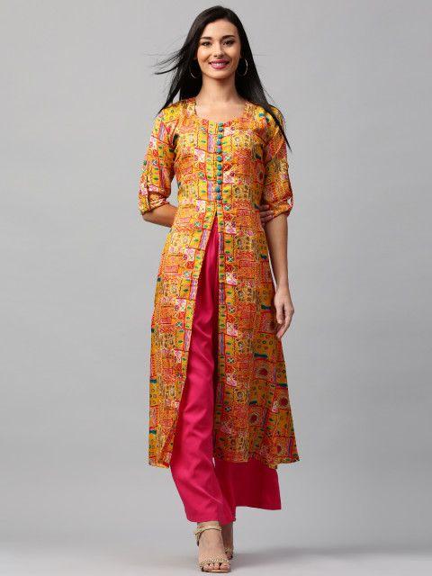 aa5471902 Buy Libas Women Yellow Printed A Line Kurta - Kurtas for Women 1852215    Myntra