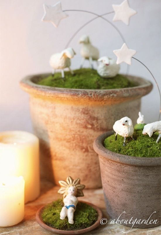 Christmas decoration with moss