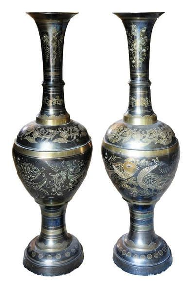 Pair Of Indian Brass Vases With Nice Engraved Artwork Vase Like