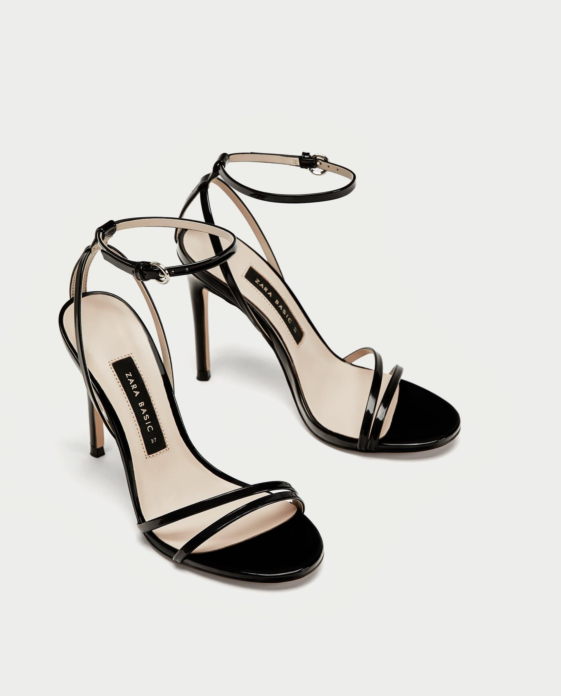 dd6650bec1 Patent Leather Sandals With Straps // 49.90 USD // Zara // Black faux  patent leather sandals. Two thins straps across the toe. Buckled ankle  straps.