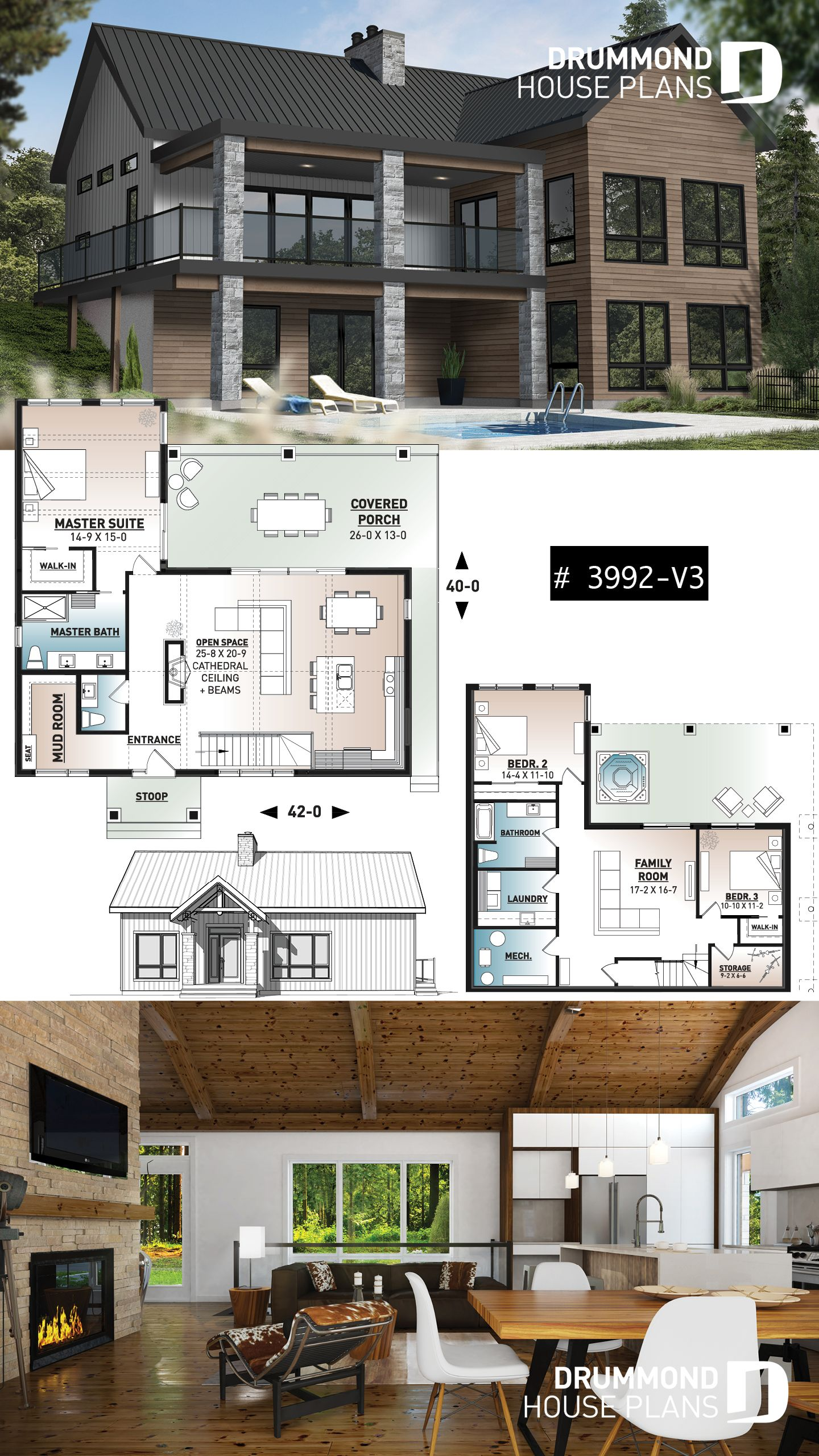 Discover The Plan 3992 V3 Olympe 4 Which Will Please You For Its 1 2 3 Bedrooms And For Its Vacation And Waterfront Styles Cottage Plan Modern Farmhouse Plans Sims House Plans