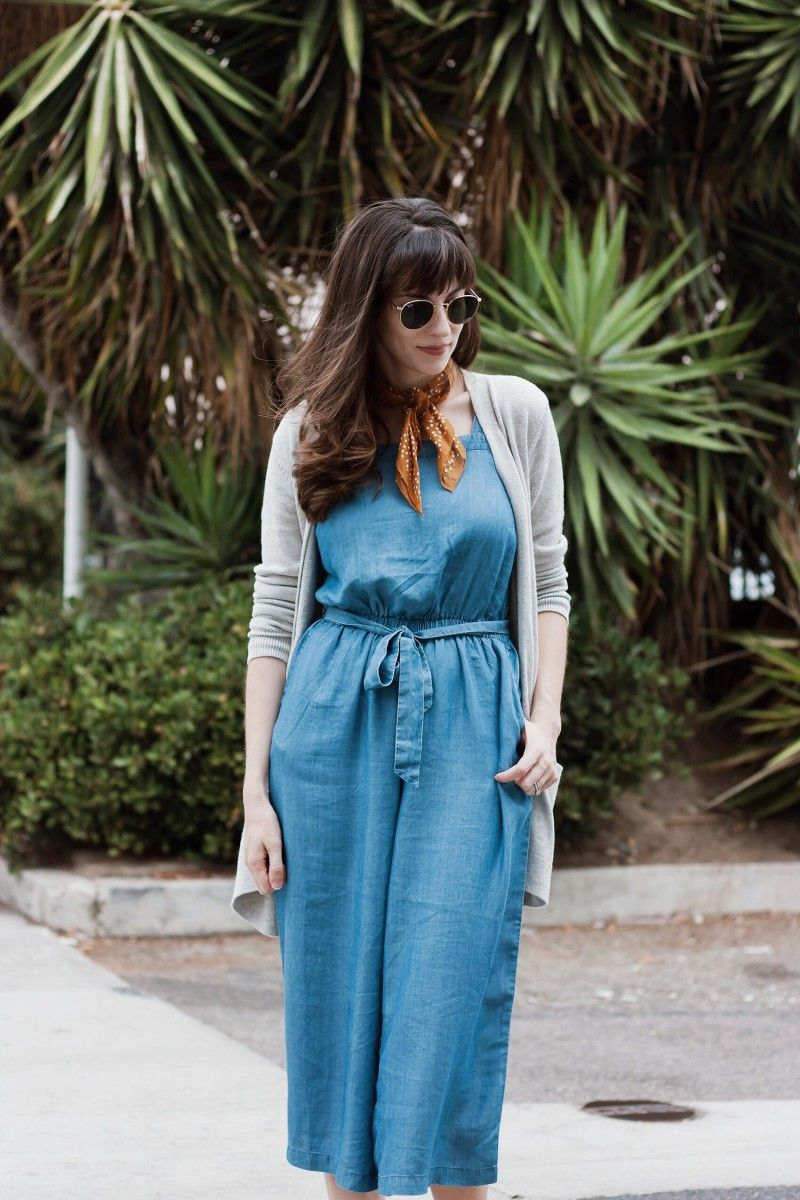 Chambray Jumpsuit With Grey Cardigan And Mustard Neckerchief Jumpsuit Fashion Long Cardigan Outfit Fall Dress With Cardigan [ 1200 x 800 Pixel ]