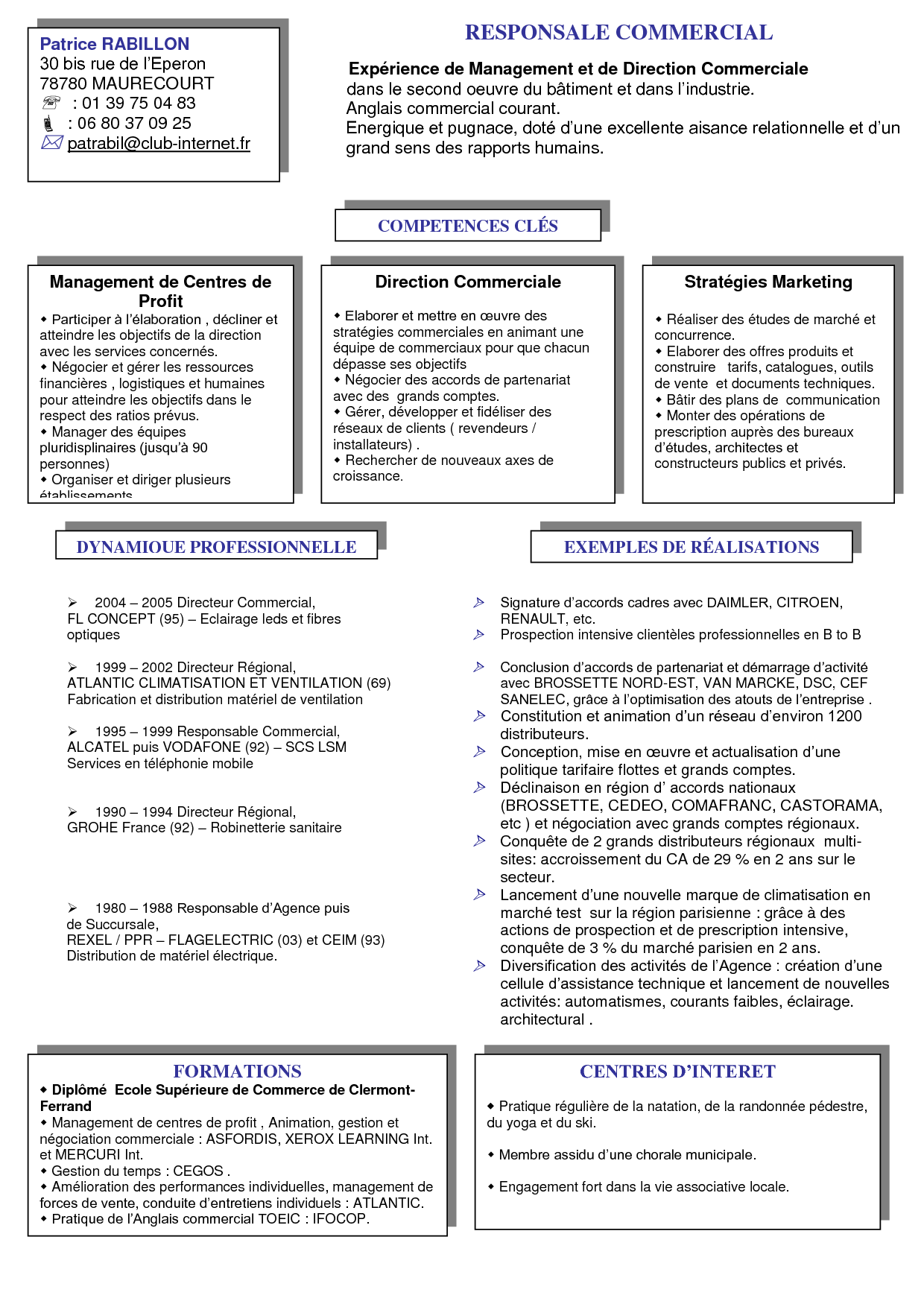Model De Cv Responsable Commercial Doc Recherche Google