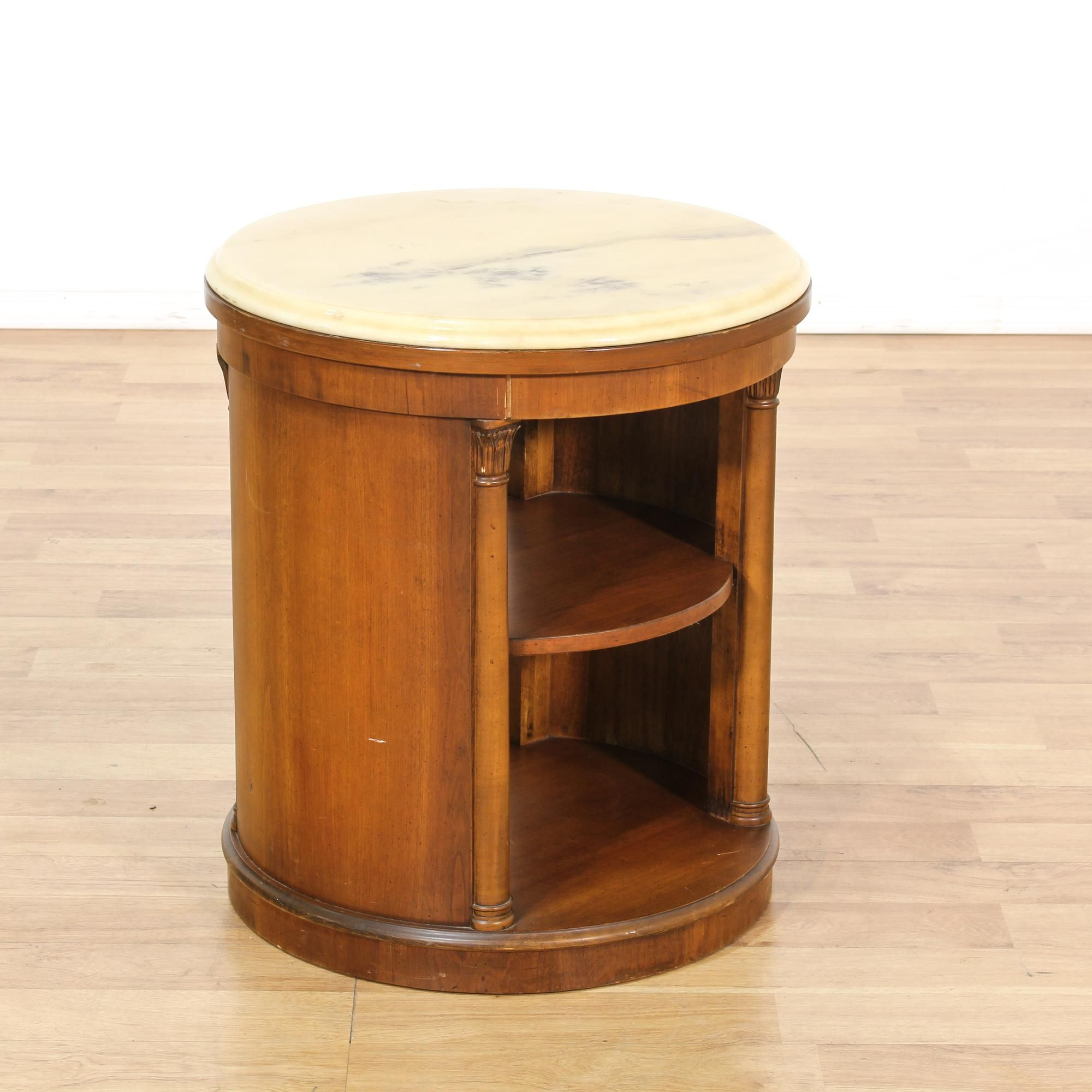 This Round End Table Is Featured In A Solid Wood With A Glossy Light Cherry  Finish