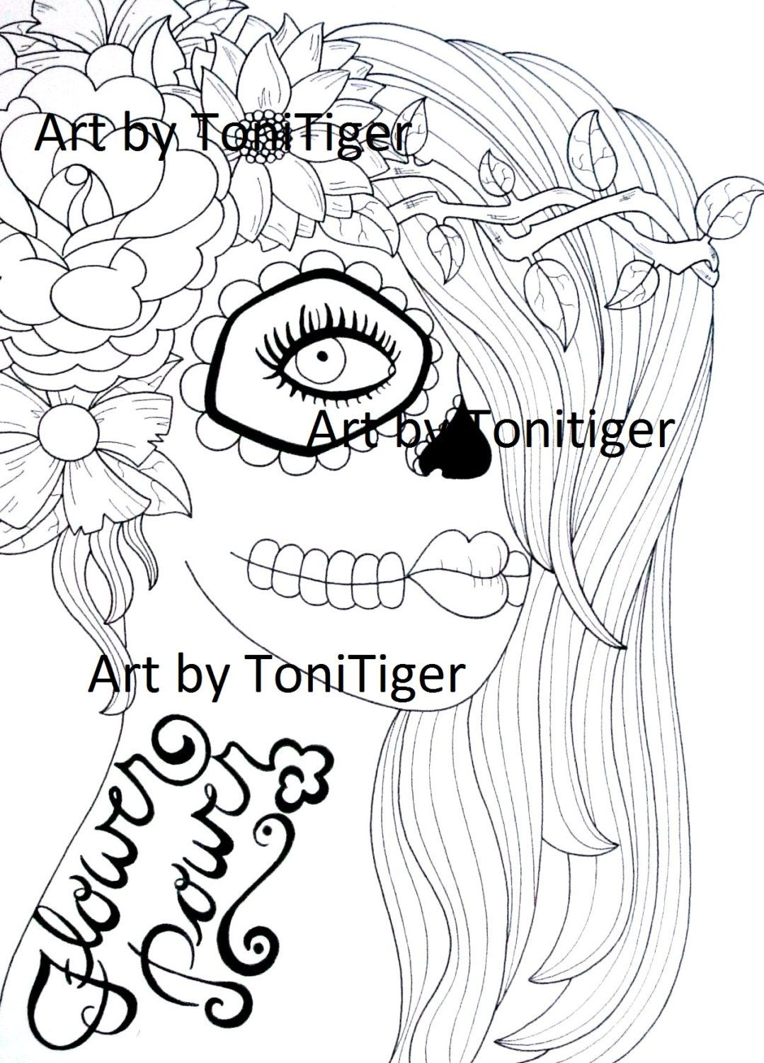 Instant Digital Download Coloring Page Flower Power Sugar Skull Girl ...