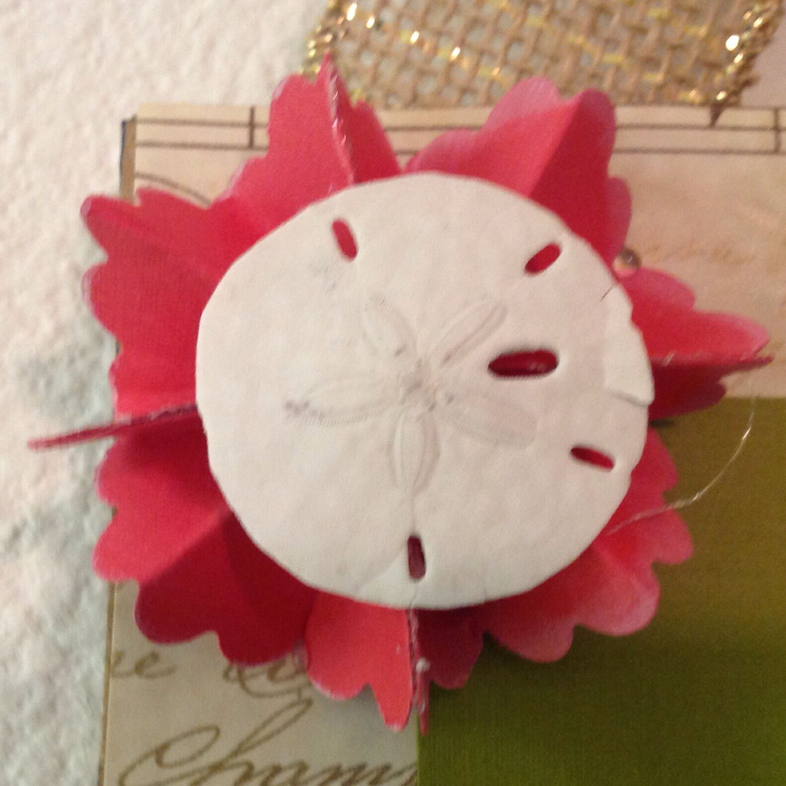 Homemade Paper Flower With Shell Center By Coletta Musick Art