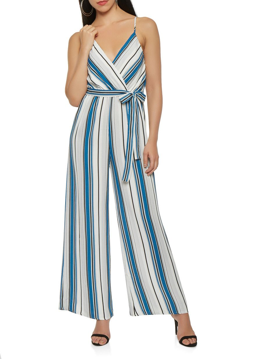 49a274927e5a Striped Wide Leg Jumpsuit - Blue - Size S