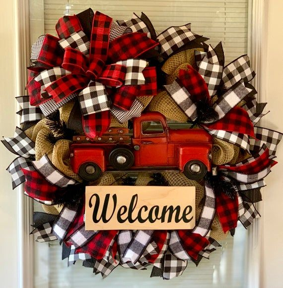 Christmas Wreath, Red Truck Wreath, Red Truck, Farmhouse Christmas Wreath, Buffalo Plaid Wreath, Winter Wreath, Buffalo Plaid, Farmhouse -   14 holiday Wreaths design ideas