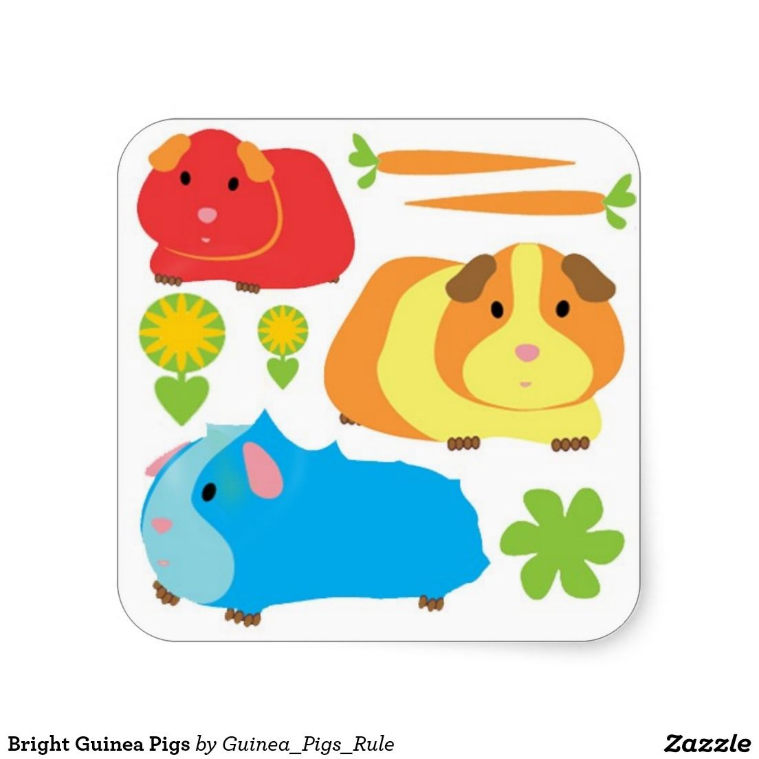 so fluffy a set of guinea pig stickers including 4 carrots 1